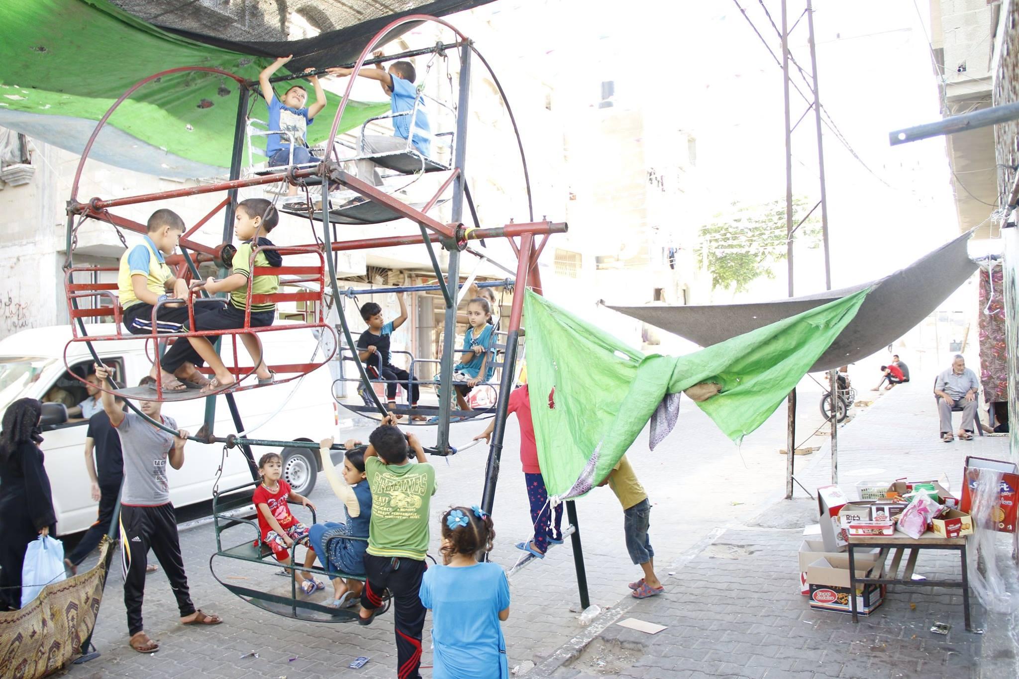 Swings in a Rafah park, Gaza