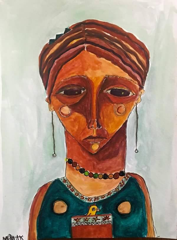 Painting of weeping Middle Eastern woman