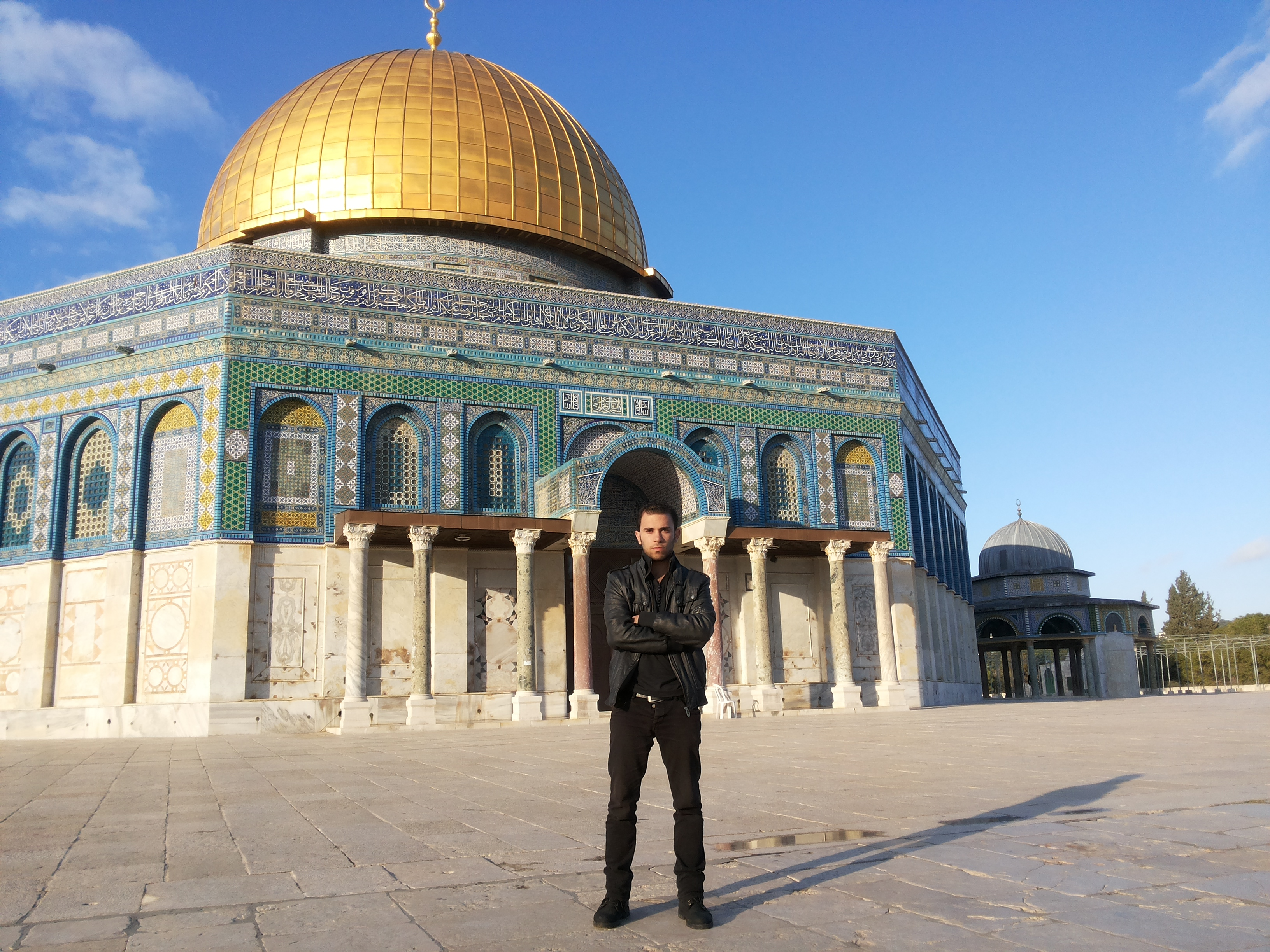 Fadi in front of the Dome of the Rock