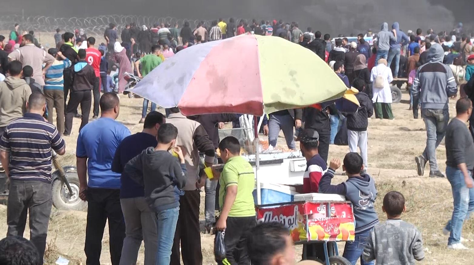 A vendor at the Great Return March in Gaza
