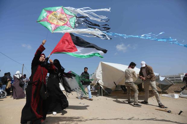 Women fly kites at Gaza protests