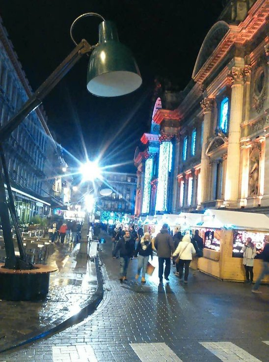 A night street in downtown Brussels