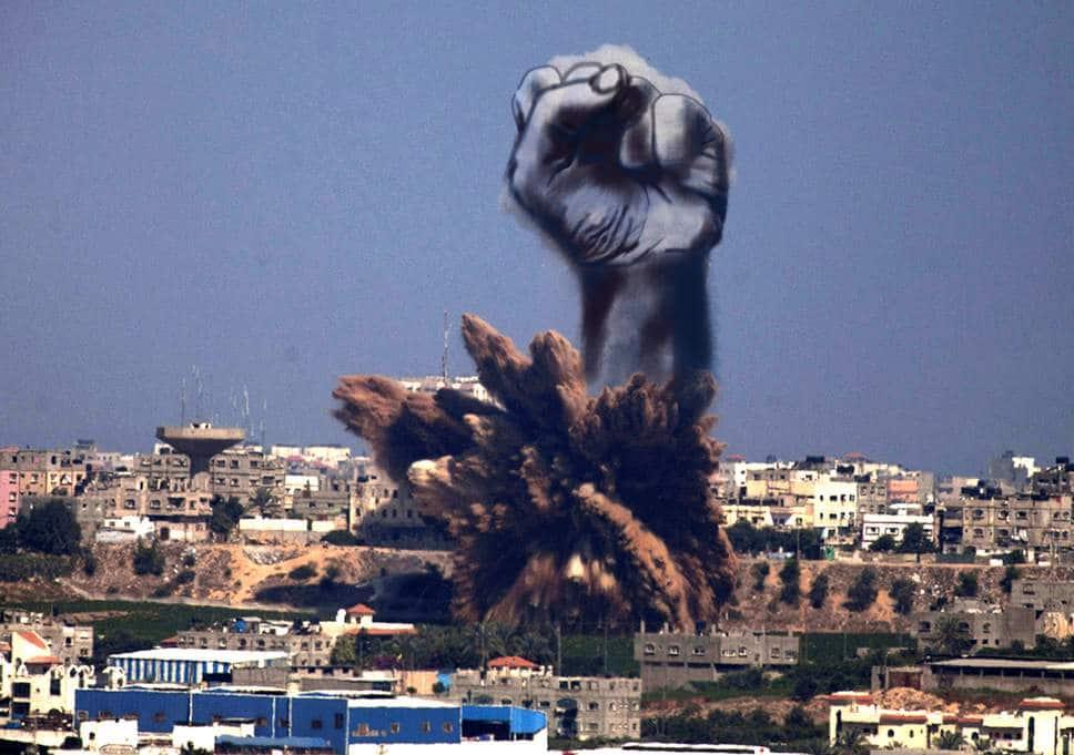 Fist rising out of bomb smoke Gaza