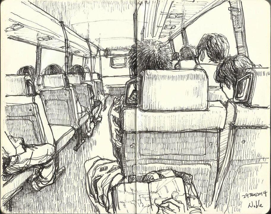Drawing of people on a bus