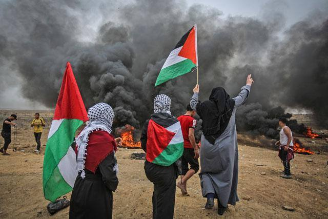 Protesters in front of smoke wrapped in Palestinian flag