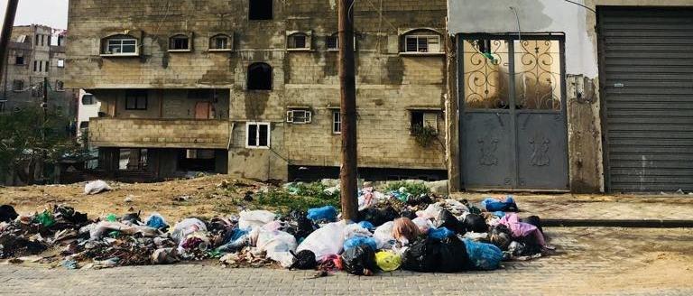 Garbage piled on street