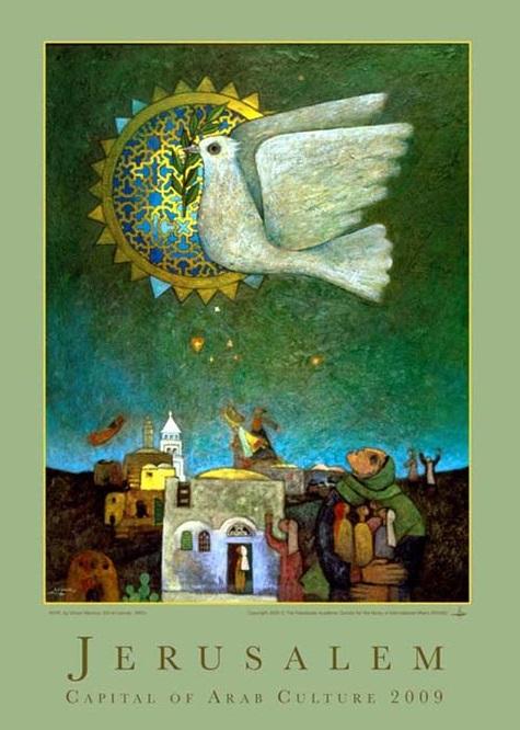 dove flying over Jerusalem