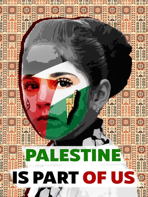 woman with palestine flag